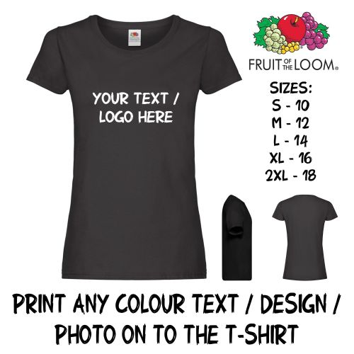 Personalised Custom Printed Lady Fit T-Shirt Text Logo Full Colour Women Hen